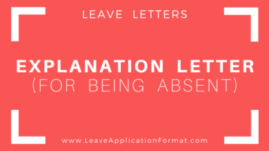 Photo of Explanation Letter for being Absent from Work: Absent from Work Explanation Letter Format, Template, Sample, Example Download