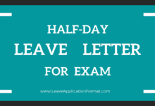 Photo of Half-Day Leave Application due to Exam: Format, Sample, Template, Example