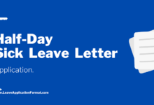 Photo of Half day Sick Leave Application: Half Day Sick Leave Letter Format, Sample, Template, Example