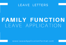Photo of Leave application due to a Family Function Format: Leave Letter for Family Functions Sample, Template, Examples